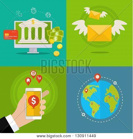 Flat design concepts of internet banking. Flat design, vector illustration.