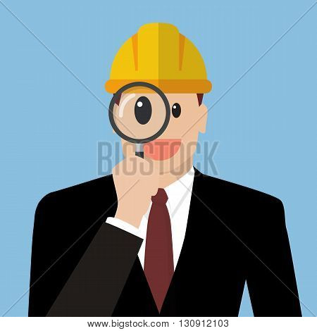 Engineer looking through a magnifying glass. Defects inspection