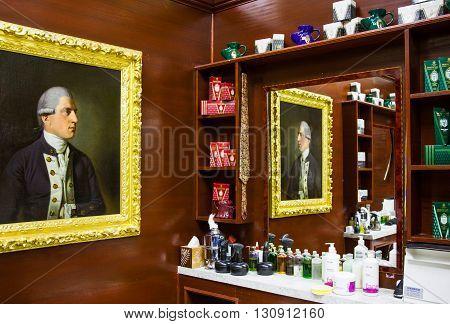 London England - January 28 2012: The James Bond's places the barber shop Truefitt & Hill in St James street