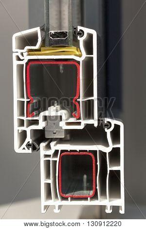 uPVC window profile. Cross section of a plastic window profile
