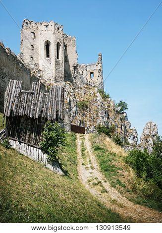 Beckov castle ruins Slovak republic Europe. Architectural theme. Travel destination. Vertical composition. Beautiful historical place.