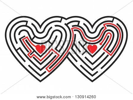 The labyrinth in the shape of two linked hearts. Vector available.