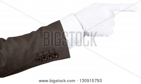 Butler's gloved hand pointing isolated over white background