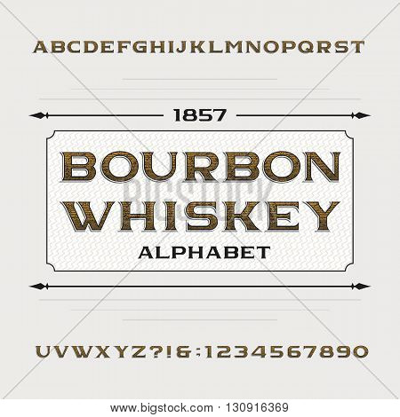 Bourbon whiskey alphabet. Retro distressed alphabet vector font. Letters and numbers. Vintage vector typeface for labels, headlines, posters etc.