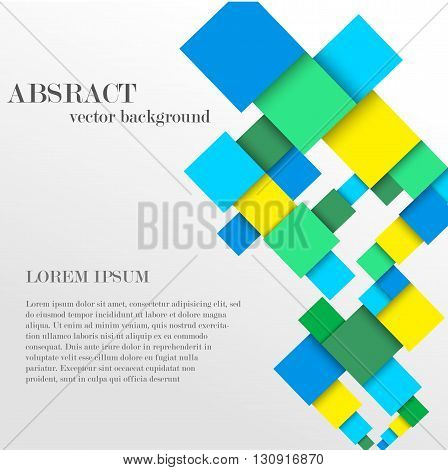 Vector abstract geometric shape from colorful diamonds with the place for your text. Square material background with the rhombus