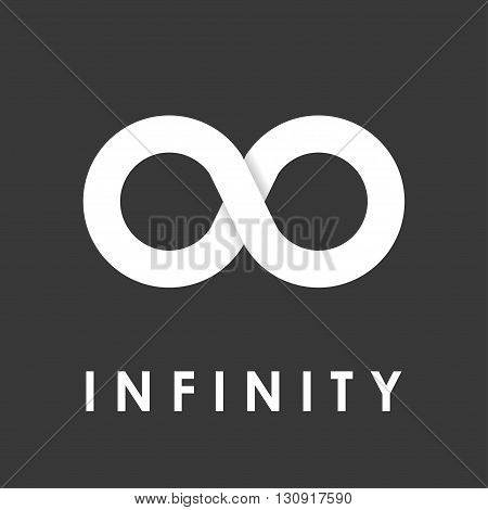 Vector white infinity icons set on black background. Limitless Infinity icon.