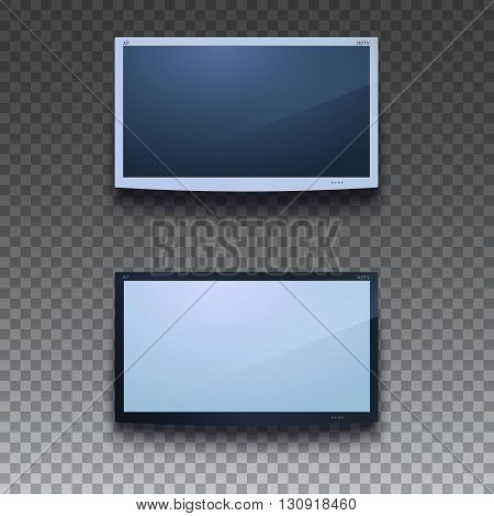 Led tv hanging on the wall on transparent background. Two color, for your design. TV screen hanging, eps 10.  LCD or LED tv screen. Display blank, digital equipment mockup. Vector illustration