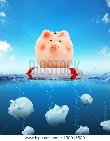Piggy bank on buoy floating on water with sinking piggy banks