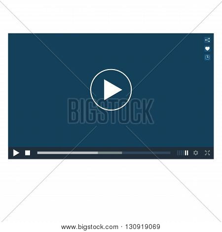 Vector video player interface template. Video player mockup on transparent background.