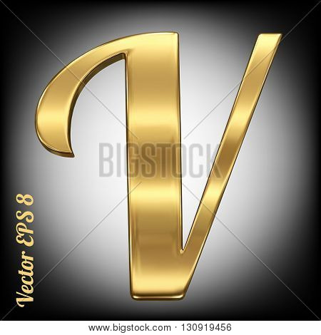 Vector letter V from gold solid alphabet. Eps 8 using mesh.