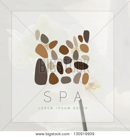 BEAUTIFUL ABSTRACT ROCK - LIKE SHAPES , VECTOR LOGO / ICON . COLORS : BEIGE , BROWN SHADES