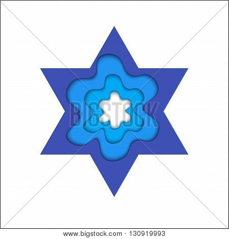 Star of David with shadow. Magen and shield of David. The day of Jerusalem. Judah vector religious symbol.