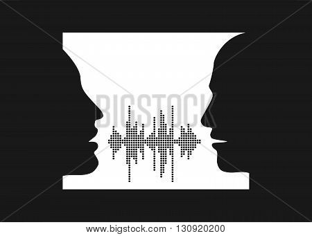 Vector illustration of two people talk face to face. Silhouettes of talking man and women in the window. Two people share words in sound wave equalizer.