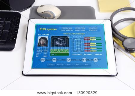 Electronic medical record show patient's health information on tablet.