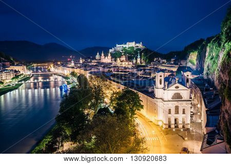 Great  view from the top on an evening city shining in the lights. Dramatic scene. Location famous place (unesco heritage) Festung Hohensalzburg, Salzburger Land, Austria, Europe. Beauty world