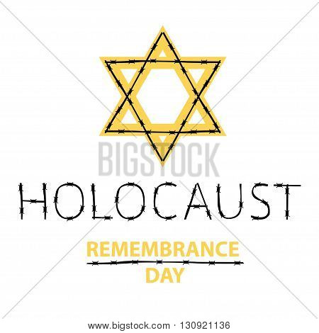Vector holocaust remembrance day. January 27. Jewish star