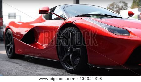 LONDON, UK - JUNE 15, 2015: Ferrari La Ferrari project name, F150 seen in the street