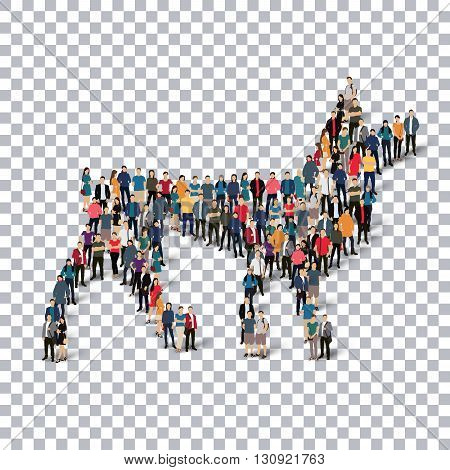A group of people in the form of a wolf , web infographics concept illustration of a crowded square, flat 3d. Crowd point group forming a predetermined shape. Creative people.Transparency grid .3D illustration.