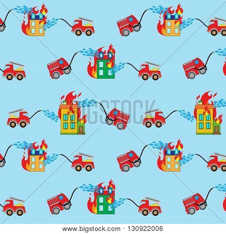 Seamless blue background pattern, with firetrucks and buildings.