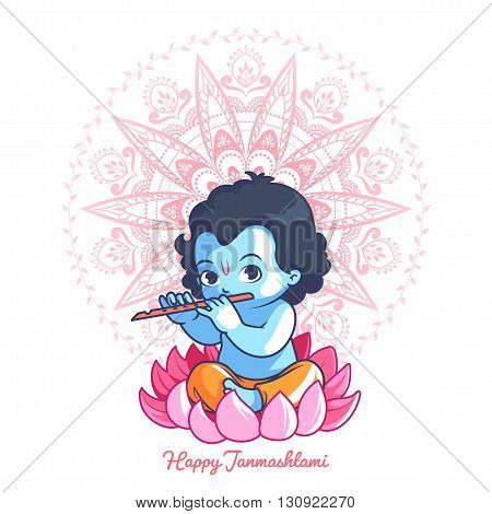 Little cartoon Krishna with a flute on the lotus. Greeting card for Krishna birthday. Vector illustration isolated on a white background.