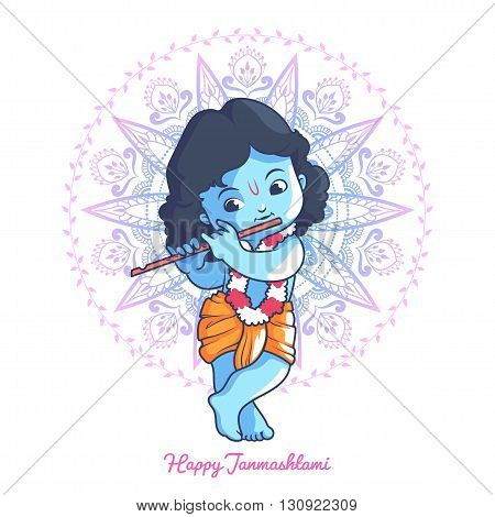 Little cartoon Krishna with a flute. Greeting card for Krishna birthday. Vector illustration isolated on a white background.