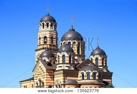 Five-domed ortodox temple built in the Byzantine style