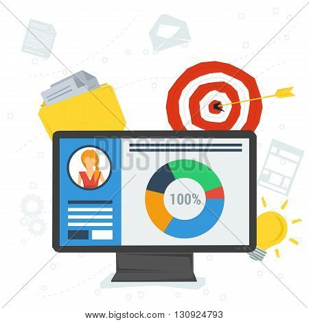 Vector flat concept personal account in internet on computer. Monitor with app, information, file folder, target, idea lamp, graphics