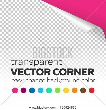 Transparent paper page curl vector corner with colored background. Easy change corner curl color background. Editable vector transparent curl corner with shadow.