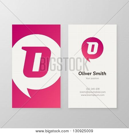 Modern letter O in speech bubble Business card template. Vector business personal card design. Layered editable.
