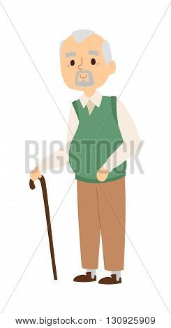 Handsome senior man in white striped shirt and grandad portrait suspenders with calm expression. Grandad portrait folded arms crutch and grandad portrait with wooden staff vector character.