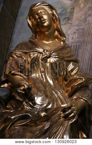 Statue in the St. Nicholas Church of Mala Strana in Prague