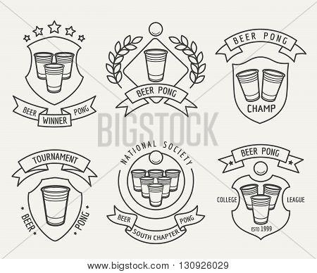 Beer pong line logo set. Beer pong drinking game vector linear labels