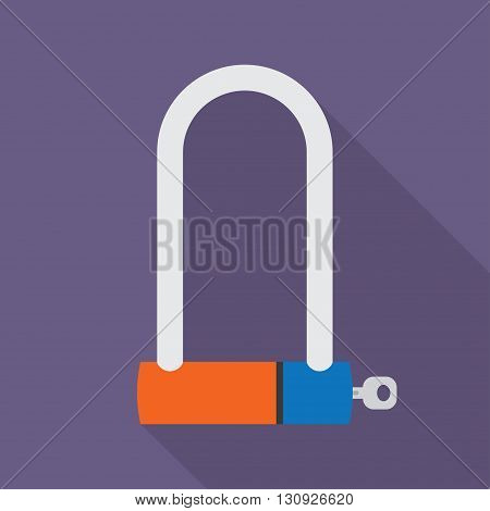 Bicycle Lock U shaped industrial. Vector illustration. with shadow