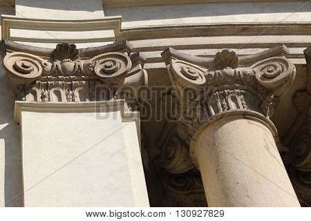 Detail of the St. Nicholas Church of Mala Strana in Prague