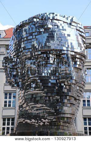 Metalmorphosis sculpture of Franz Kafka in Prague by David Cerny