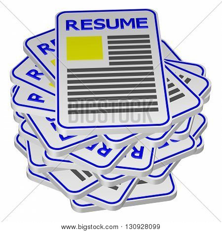 Concept : unemployment isolated on white background. 3D rendering.