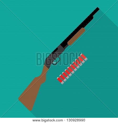 Shotgun flat icon. vector illustration. Flat icon isolated with long shadow.