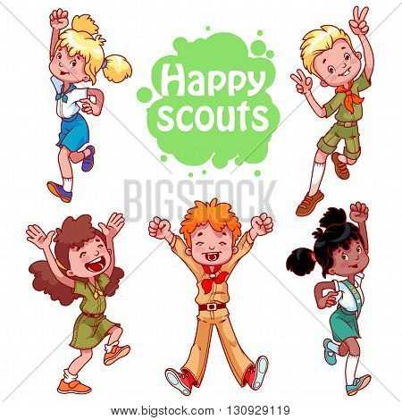 Set of happy kids. Boys and girls scouts. Vector cartoon characters isolated on a white background.