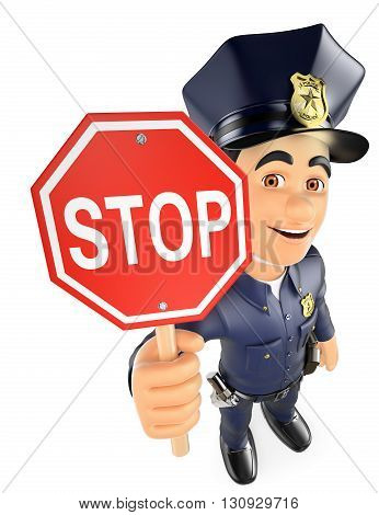 3d security forces people illustration. Policeman with a stop sign. Isolated white background.