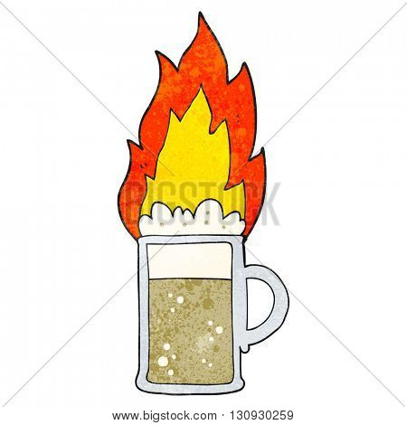 freehand textured cartoon flaming tankard of beer
