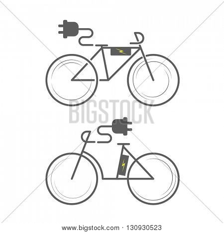 E-bike icon on white background. Electro bicycle. bike icon set. Bicycle flat icon, electric bicycle icon vector, electric bike logo. Vector illustration