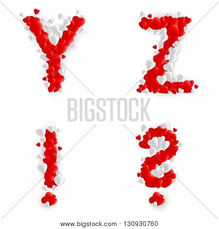 Letters Y Z query mark and exclamation point of paper hearts