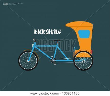 Rickshaw flat design. Indian rickshaw. Indian rickshaw. Auto rickshaw and pedicab. Travel transport taxi, tourism and vehicle. Traditional india rickshaw silhouette cycle cab. Vector illustration.