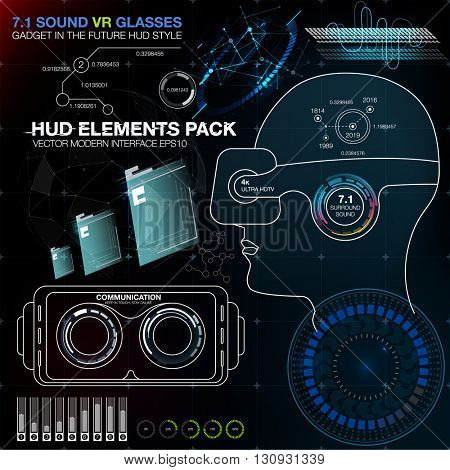 Abstract HUD VR. HUD UI for VR. Futuristic user interface. UI HU infographic for VR. Interface screen for motion design