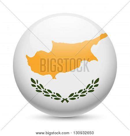 Flag of Cyprus as round glossy icon. Button with Cypriot flag