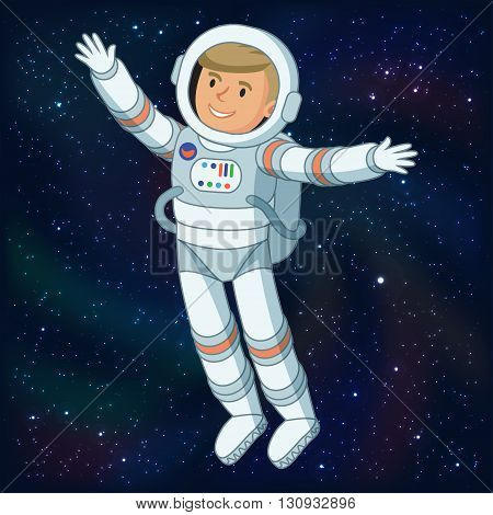 Astronaut in outer space astronaut floating in space cosmic scene with space and stars. Vector illustration poster