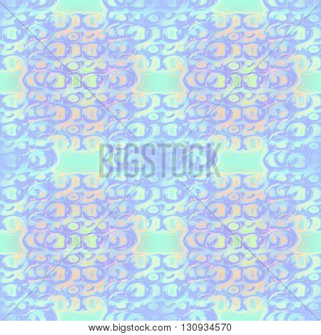 Abstract geometric seamless background. Delicate ellipses pattern in orange, light blue and purple shades with aquamarine elements.