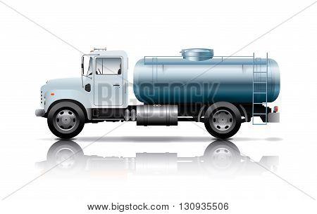 white tanker truck on white  back ground