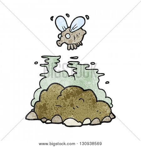freehand textured cartoon fly and manure