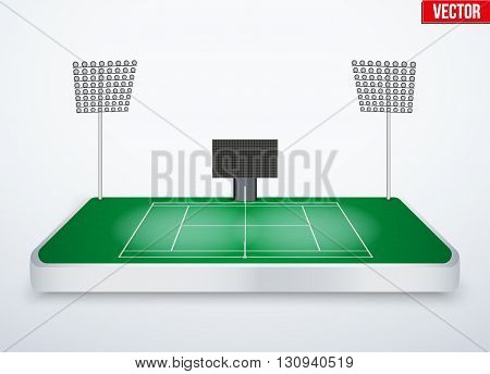 Concept of miniature tabletop Tennis court. In three-dimensional space. Vector illustration isolated on background.